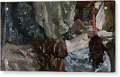 Nude Before The Mirror Acrylic Print by Korobkin Anatoly