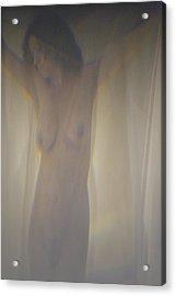 Nude Behind Curtain Acrylic Print