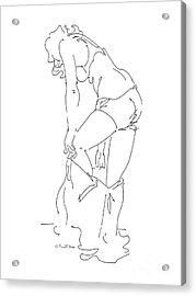 Acrylic Print featuring the drawing Nude Female Drawings 1 by Gordon Punt