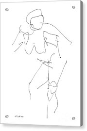 Nude Female Drawings 14 Acrylic Print by Gordon Punt