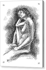 Acrylic Print featuring the drawing Nude Female Sketches 3 by Gordon Punt