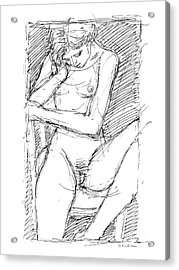Acrylic Print featuring the drawing Nude Female Sketches 4 by Gordon Punt