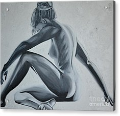 Nude Female - Snowstorm Acrylic Print by Holly Donohoe