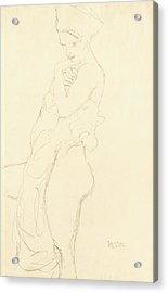 Nude Acrylic Print by Gustav Klimt