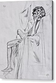 Nude In A Draped Chair Acrylic Print