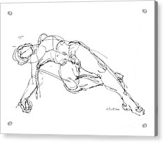 Acrylic Print featuring the drawing Nude Male Drawings 1 by Gordon Punt