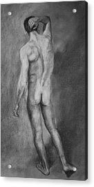 Acrylic Print featuring the drawing Nude Male by Rachel Hames
