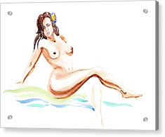 Nude Model Gesture Ix Hawaiian Breeze Acrylic Print by Irina Sztukowski