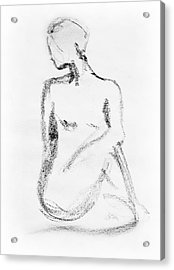 Nude Model Gesture Vi Acrylic Print by Irina Sztukowski