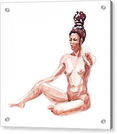 Nude Model Gesture X Acrylic Print by Irina Sztukowski