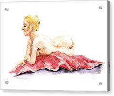 Nude Model Gesture Xiv Resting On Red Acrylic Print by Irina Sztukowski