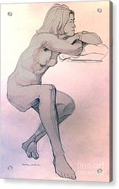 Nude Of A Dreamy Young Woman Acrylic Print