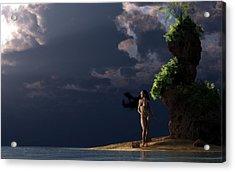 Nude On A Beach Acrylic Print