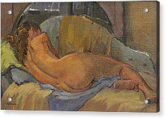 Nude On Chaise Longue Acrylic Print by Pat Maclaurin