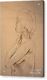Nude Profile Acrylic Print by Gabrielle Schertz