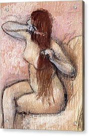 Nude Seated Woman Arranging Her Hair Femme Nu Assise Se Coiffant Acrylic Print by Edgar Degas