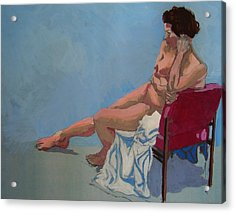 Nude Sitting In Red Chair Acrylic Print by Mike Jory