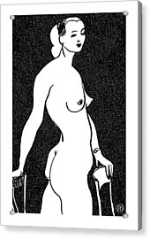 Nude Sketch 4 Acrylic Print by Leonid Petrushin