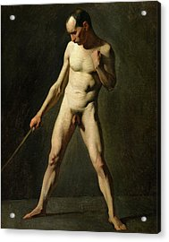 Nude Study Acrylic Print by Jean-Francois Millet