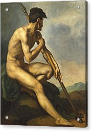 Nude Warrior With A Spear Acrylic Print