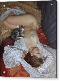 Nude With A Kitten Acrylic Print by Korobkin Anatoly