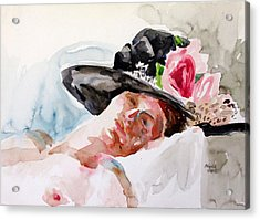 Nude With Flowered Hat Acrylic Print