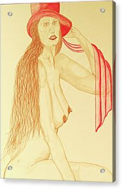 Nude With Red Hat Acrylic Print by Rand Swift