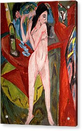 Nude Woman Combing Her Hair Acrylic Print by Ernst Ludwig Kirchner