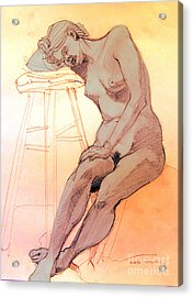 Acrylic Print featuring the drawing Nude Woman Leaning On A Barstool by Greta Corens