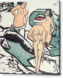 Nude Women Acrylic Print by Ernst Ludwig Kirchner