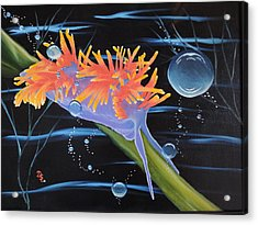 Acrylic Print featuring the painting Nudibranche by Dianna Lewis