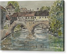 Acrylic Print featuring the painting Nuernberg Bridge Of The Hangman by Alfred Motzer