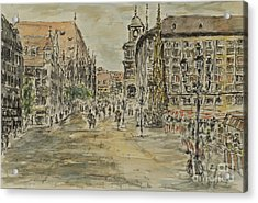 Acrylic Print featuring the painting Nuernberg Central Market Place With Gothic Fountain by Alfred Motzer