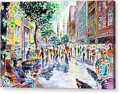 Acrylic Print featuring the painting Nuernberg Karolinenstrasse Digitally Remastered by Alfred Motzer