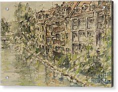 Acrylic Print featuring the painting Nuernberg Southern Riverside Of Rednitz by Alfred Motzer