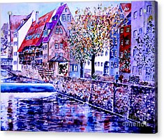 Acrylic Print featuring the painting Nuernberg Walkby The Riverside by Alfred Motzer