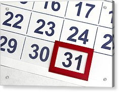 Number 31 Bordered By Red In Calendar Acrylic Print by Antoniooo