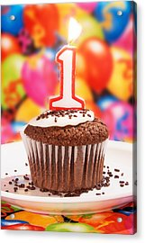 Acrylic Print featuring the photograph Chocolate Cupcake With One Burning Candle by Vizual Studio