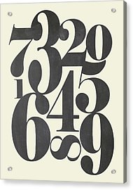 Numbers Cream Acrylic Print by Amy Cummings