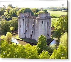 Nunney Castle Painting Acrylic Print by Ron Harpham