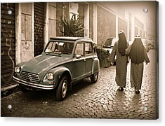 Nuns With Vintage Car Acrylic Print