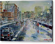 Acrylic Print featuring the painting Nuremberg Frauentorgraben by Alfred Motzer