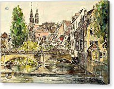 Acrylic Print featuring the painting Nuremberg Watching St.laurence Cathedral by Alfred Motzer