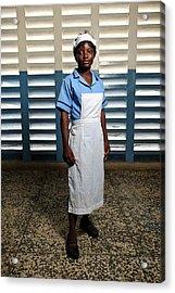 Nurse In Sierra Leone Acrylic Print by Matthew Oldfield