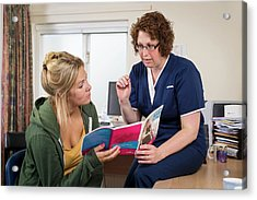 Nurse With Patient Discussing Hpv Acrylic Print by Jim Varney