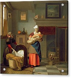 Nursemaid With Baby In An Interior And A Young Girl Preparing The Cradle Acrylic Print by Pieter de Hooch
