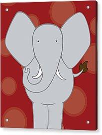 Nursery Art Elephant Red Acrylic Print by Christy Beckwith