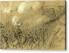 N.y. 14th Heavy Artillery Crossing Chesterfield Bridge Acrylic Print by Quint Lox