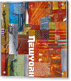 Ny City Collage 3 Acrylic Print by Corporate Art Task Force