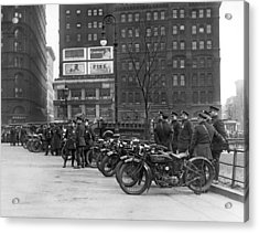 Ny Motorcycle Police Acrylic Print by Underwood Archives